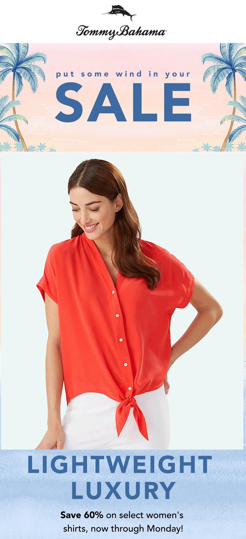 Tommy Bahama stores Coupon  60% off womens shirts at Tommy Bahama #tommybahama
