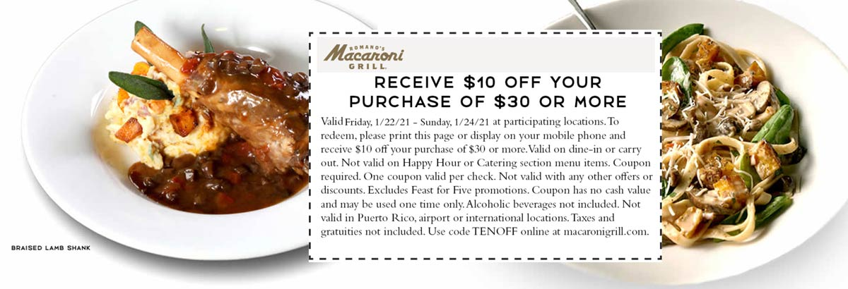 Macaroni Grill restaurants Coupon  $10 off $30 at Macaroni Grill restaurants #macaronigrill
