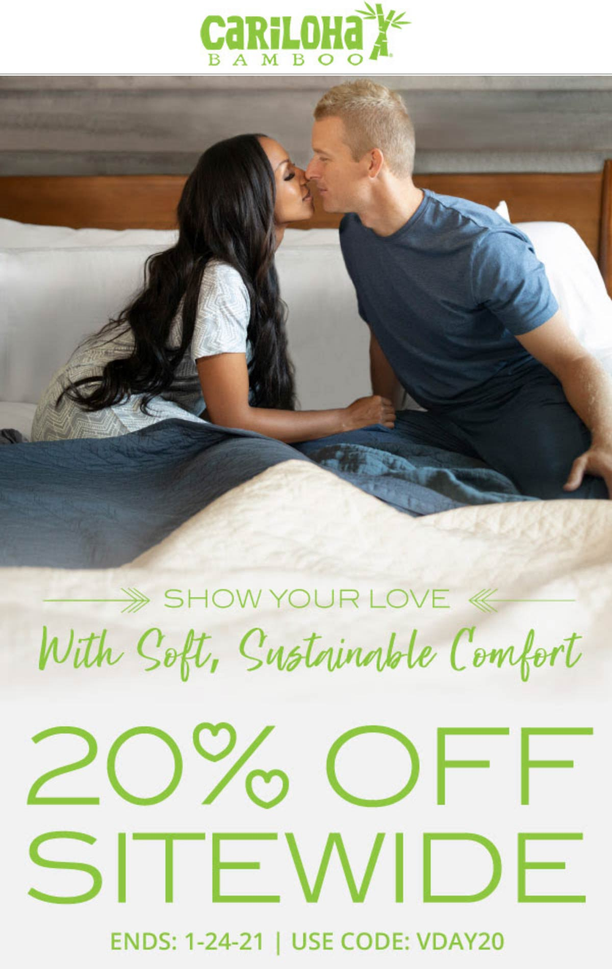 Cariloha stores Coupon  20% off everything today at Cariloha bamboo sheets via promo code VDAY20 #cariloha