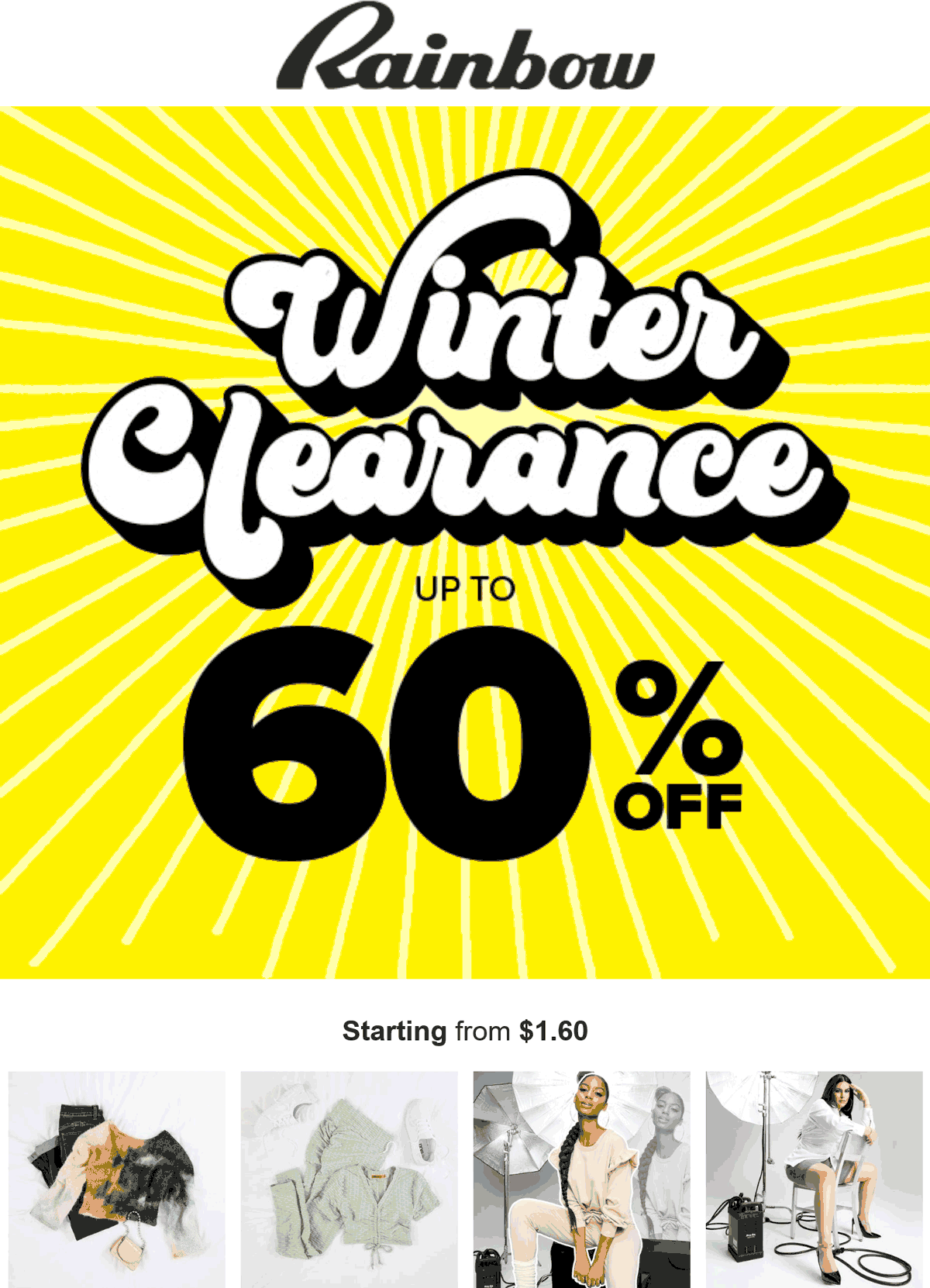 Rainbow stores Coupon  60% off winter clearance going on at Rainbow shops #rainbow