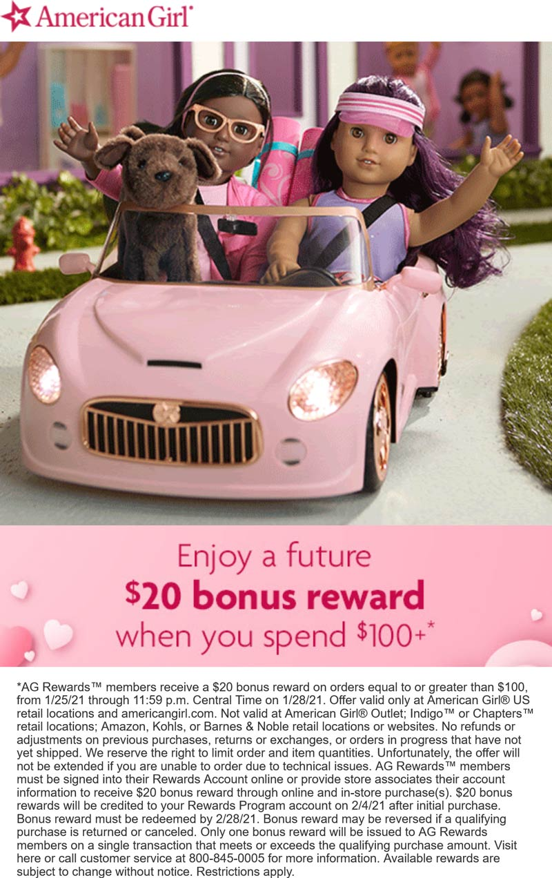 American Girl stores Coupon  Future $20 off with $100 spent for rewards members at American Girl #americangirl