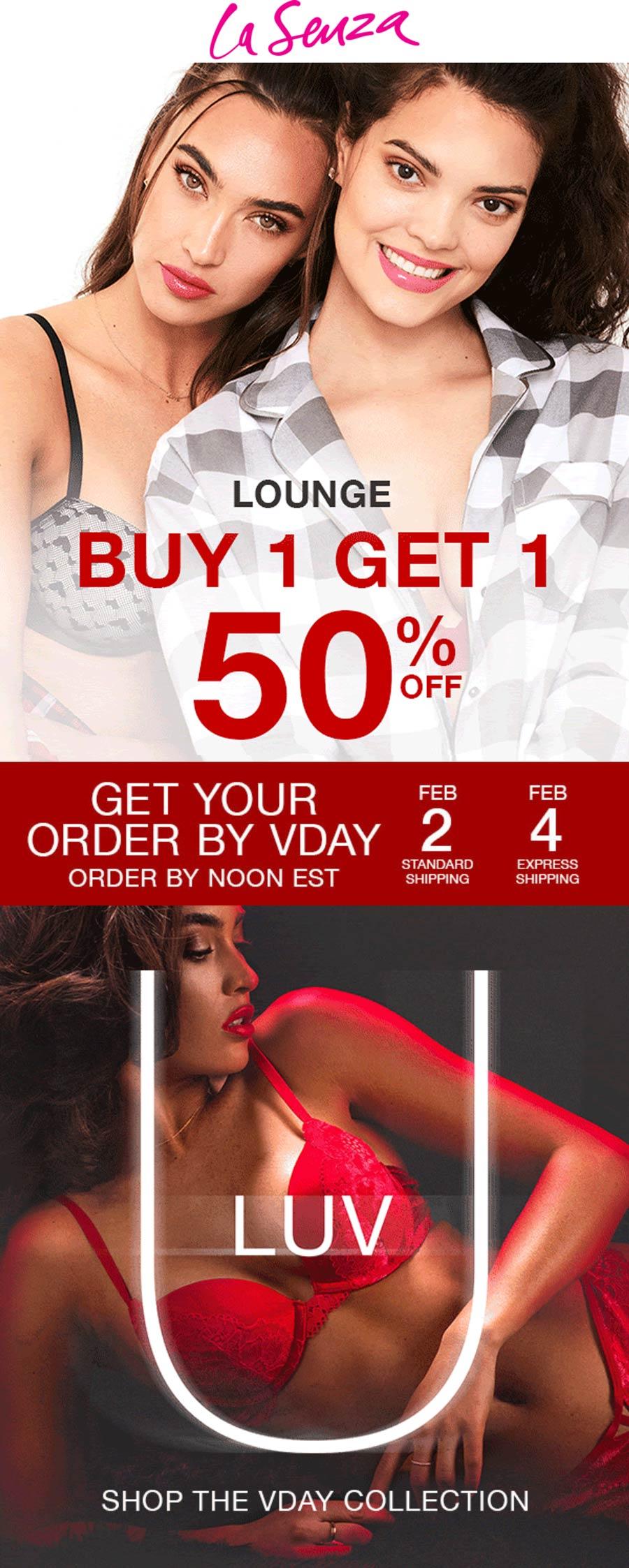 La Senza stores Coupon  Second Valentines loungewear 50% off at La Senza #lasenza