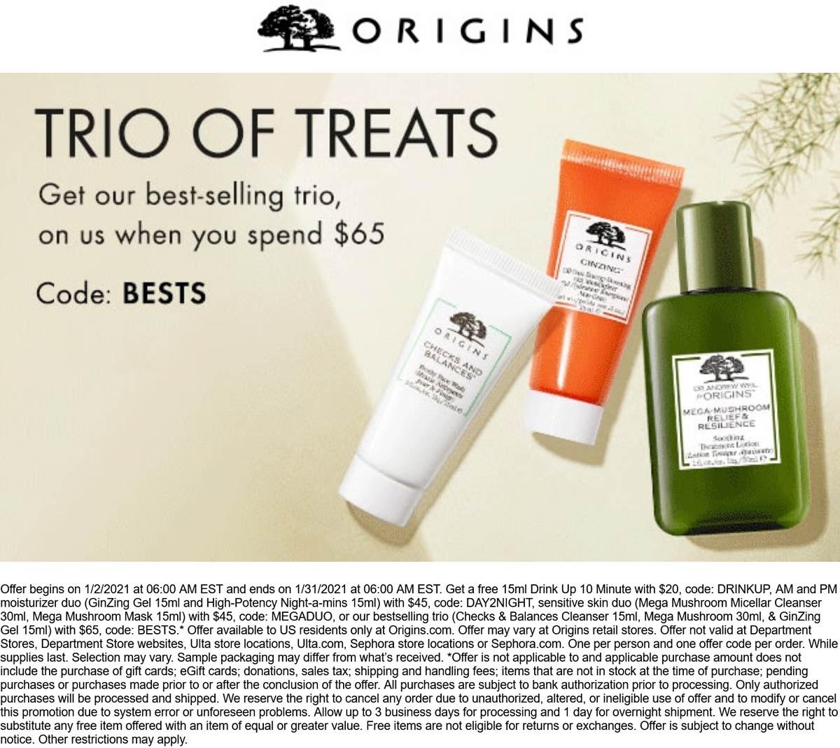 Origins stores Coupon  Free 3pc trio with $65 spent at Origins via promo code BESTS #origins
