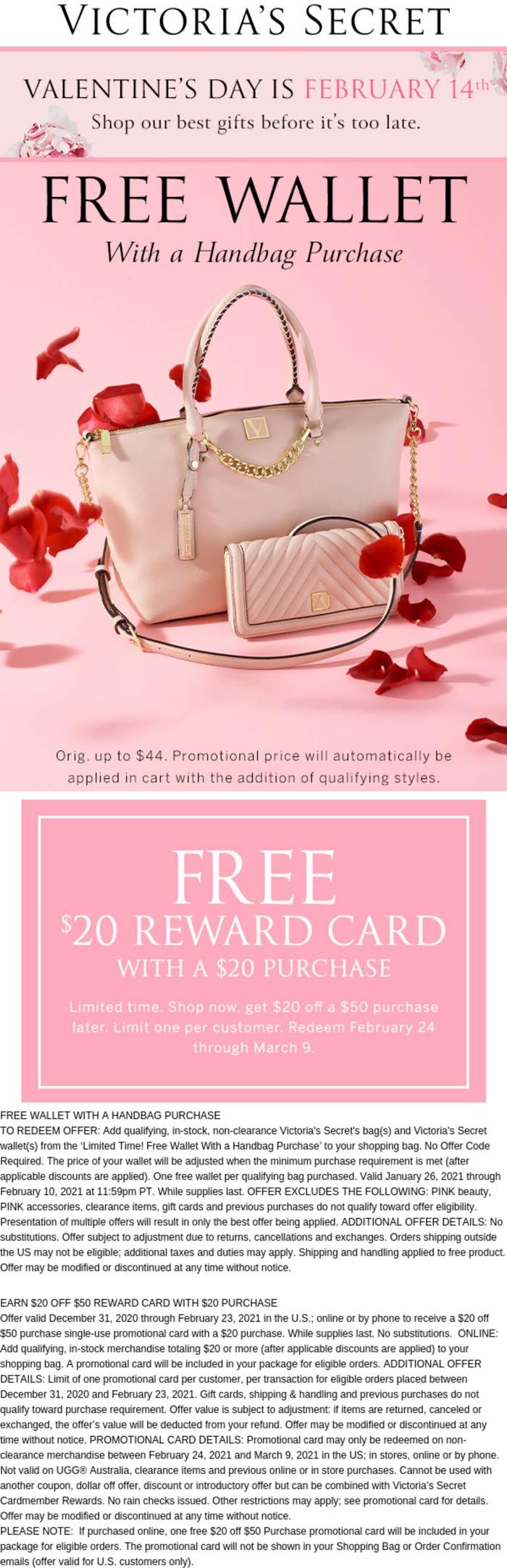 Victorias Secret stores Coupon  Free wallet with your handbag & more online at Victorias Secret #victoriassecret
