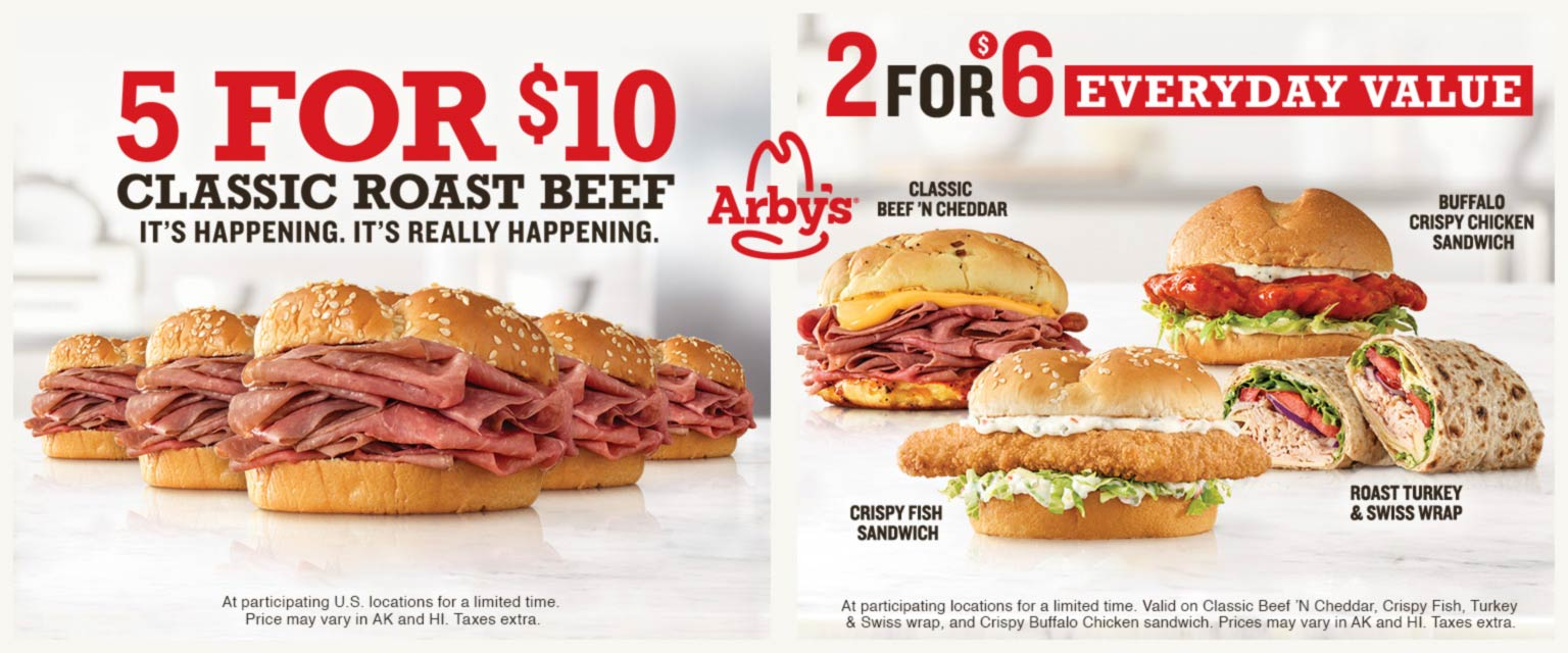 Arbys restaurants Coupon  5 roast beef sandwiches for $10 & more at Arbys restaurants #arbys