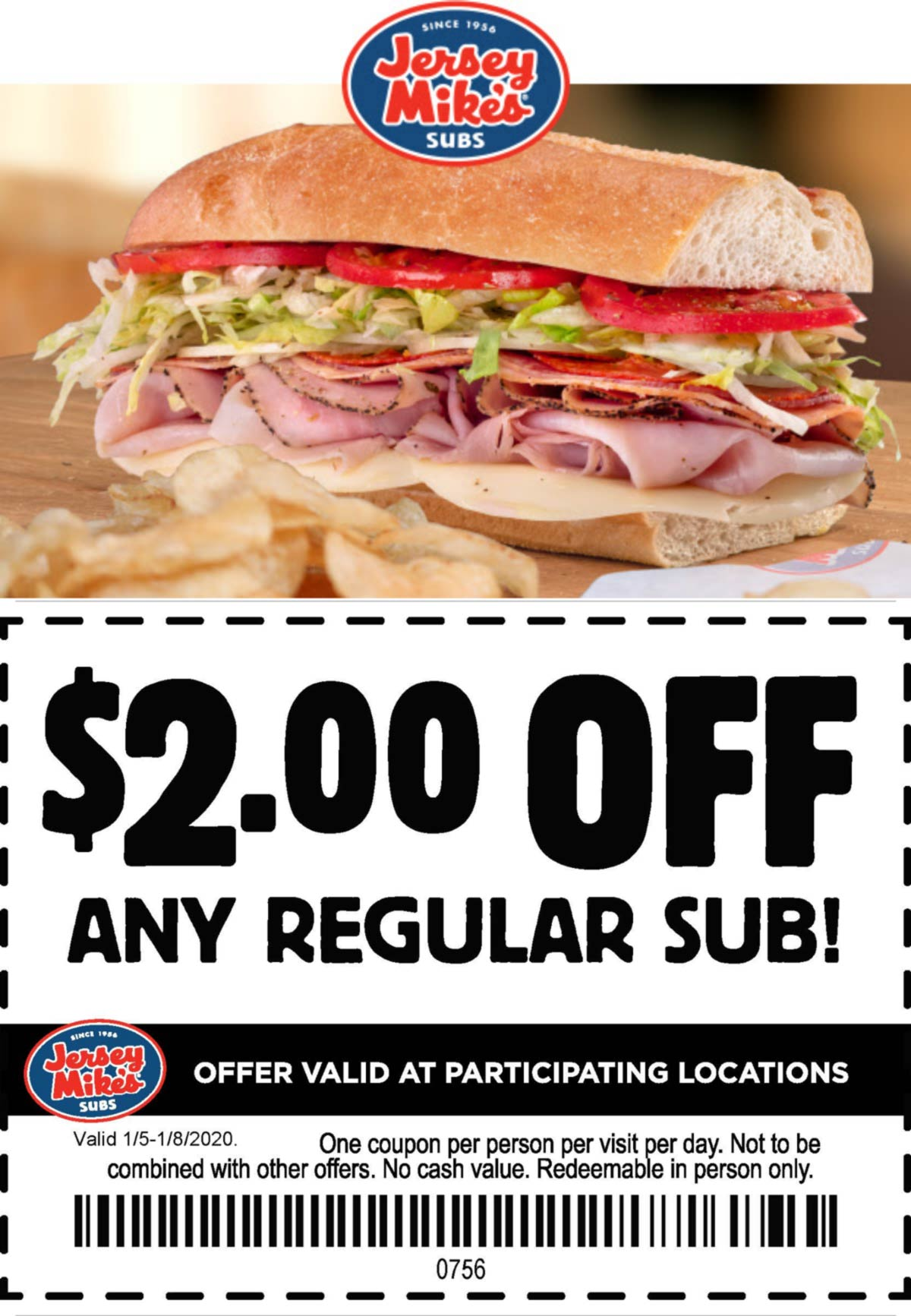 Jersey Mikes restaurants Coupon  $2 off a sub sandwich at Jersey Mikes #jerseymikes