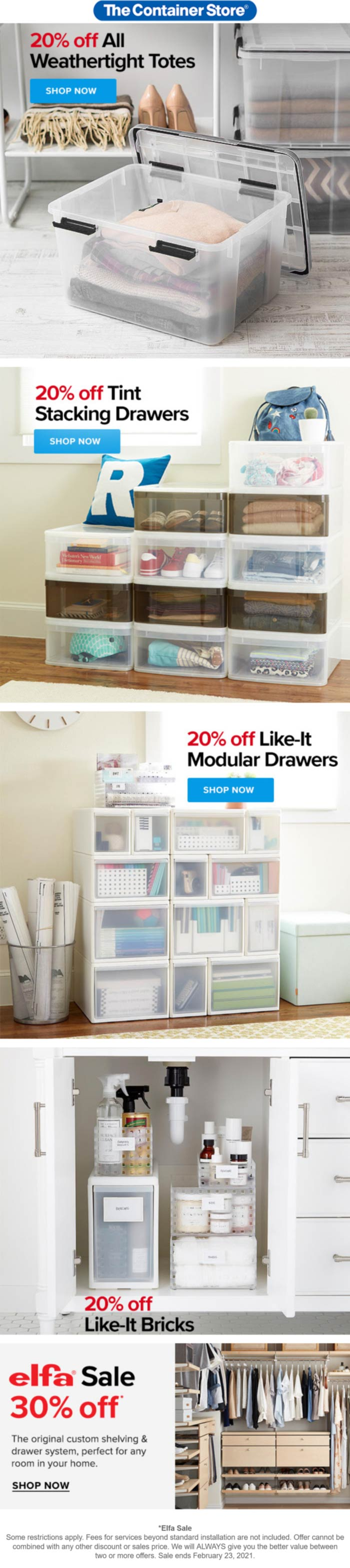 The Container Store stores Coupon  20% off storage at The Container Store, ditto online #thecontainerstore