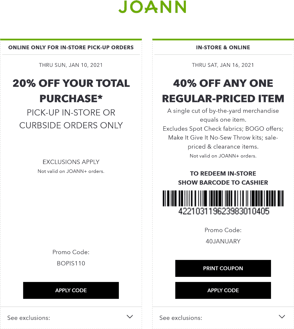 Joann stores Coupon  40% off a single item at Joann, or online via promo code 40JANUARY #joann