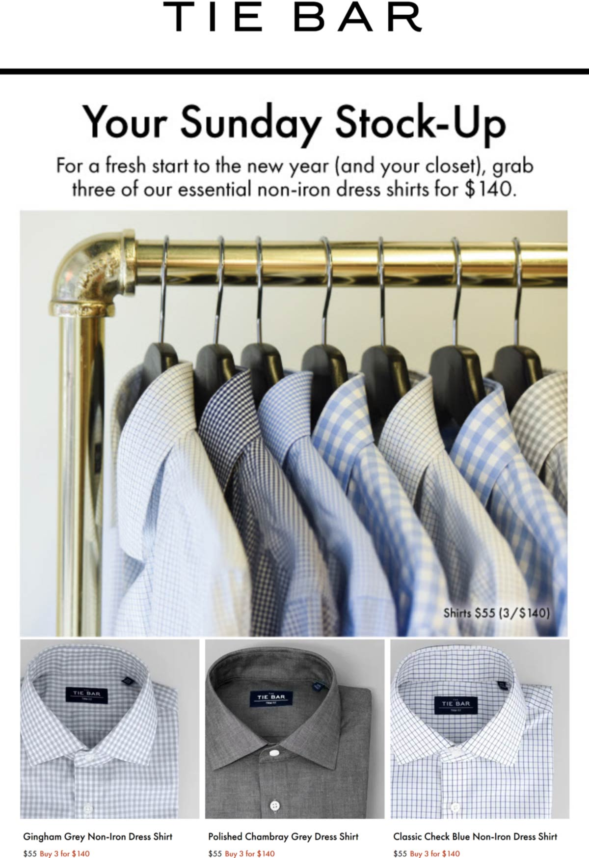 Tie Bar restaurants Coupon  $25 off 3+ shirts today at Tie Bar, ditto online #tiebar