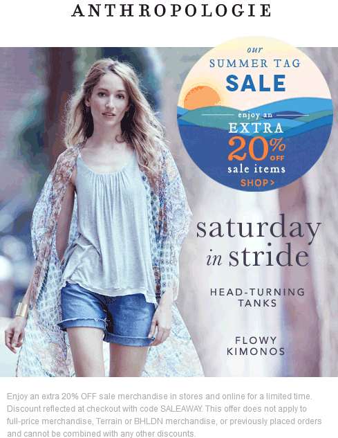 Anthropologie Coupon August 2020 Extra 20% off sale items at Anthropologie, or online via promo code SALEAWAY