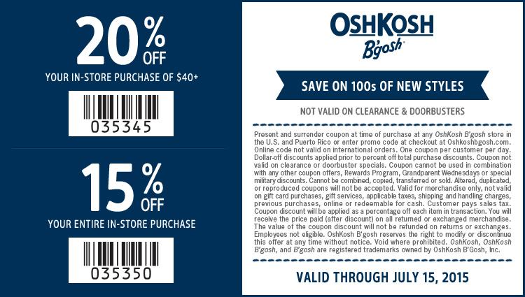 OshKosh Bgosh coupons & promo code for [July 2020]