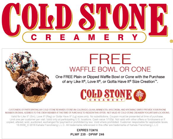 Coupon For Cold Stone Creamery Ice Cream Cake