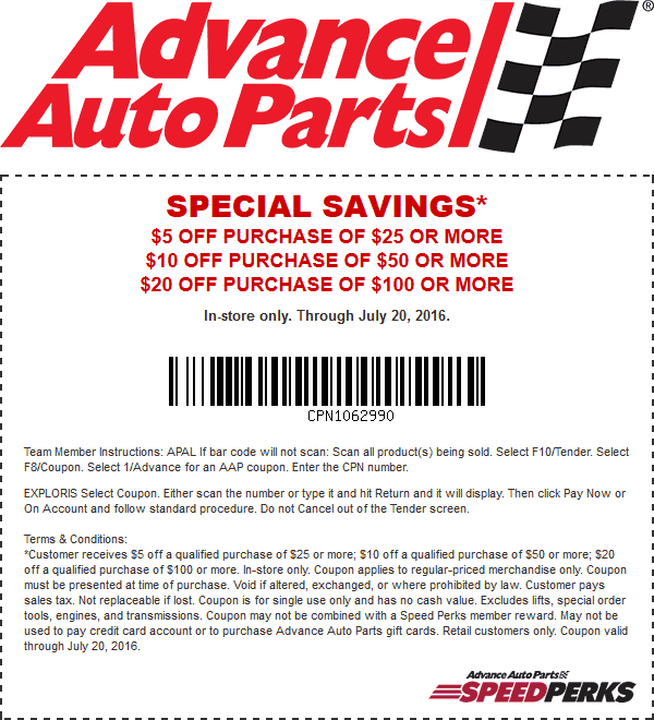 Advance Auto Parts sells replacement parts including brakes, brake calipers, brake hardware, brake pads, brake rotors, air filters, cabin air filters, fuel filters and oil filters, performance parts including brake kits, shocks, suspension accessories, distributors, ignition coils and programmers, accessories for interior and exterior, oil and fluids and more.