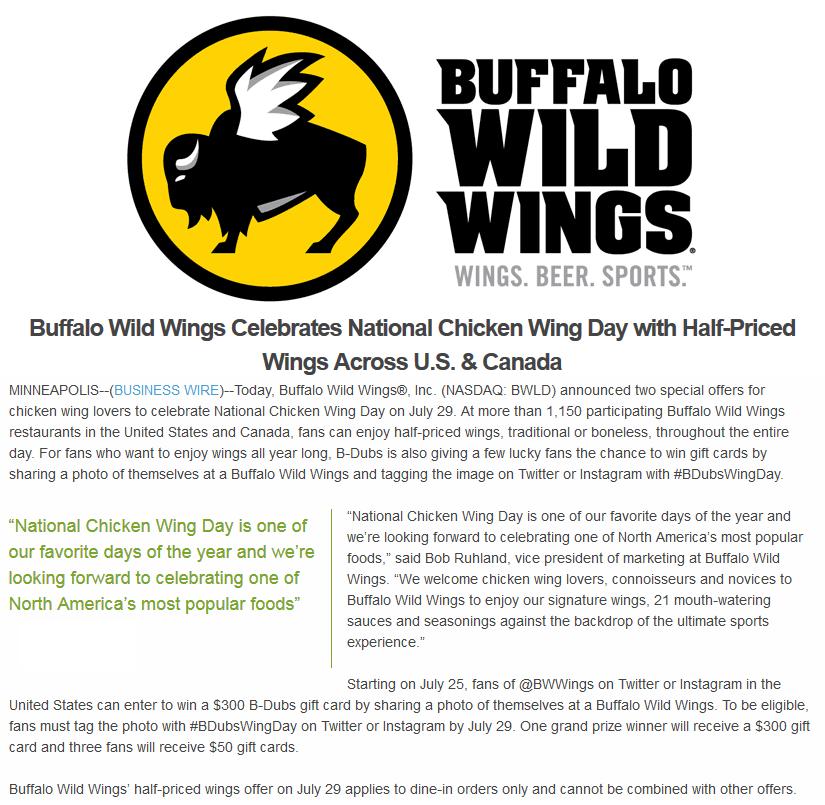 image about Buffalo Wild Wings Printable Coupons titled Buffalo Wild Wings Coupon codes - 50% off wings Friday at Buffalo