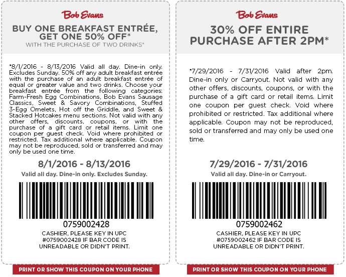 Bob Evans Coupon February 2020 Second breakfast 50% off & more at Bob Evans