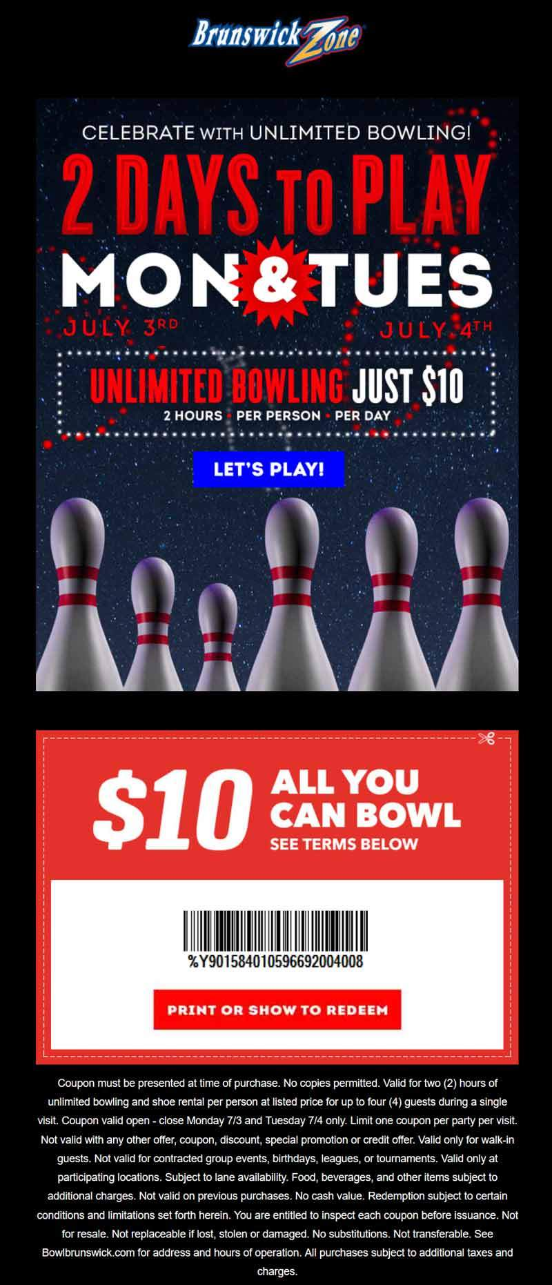 brunswick coupons 10 unlimited bowling today at brunswick. Black Bedroom Furniture Sets. Home Design Ideas