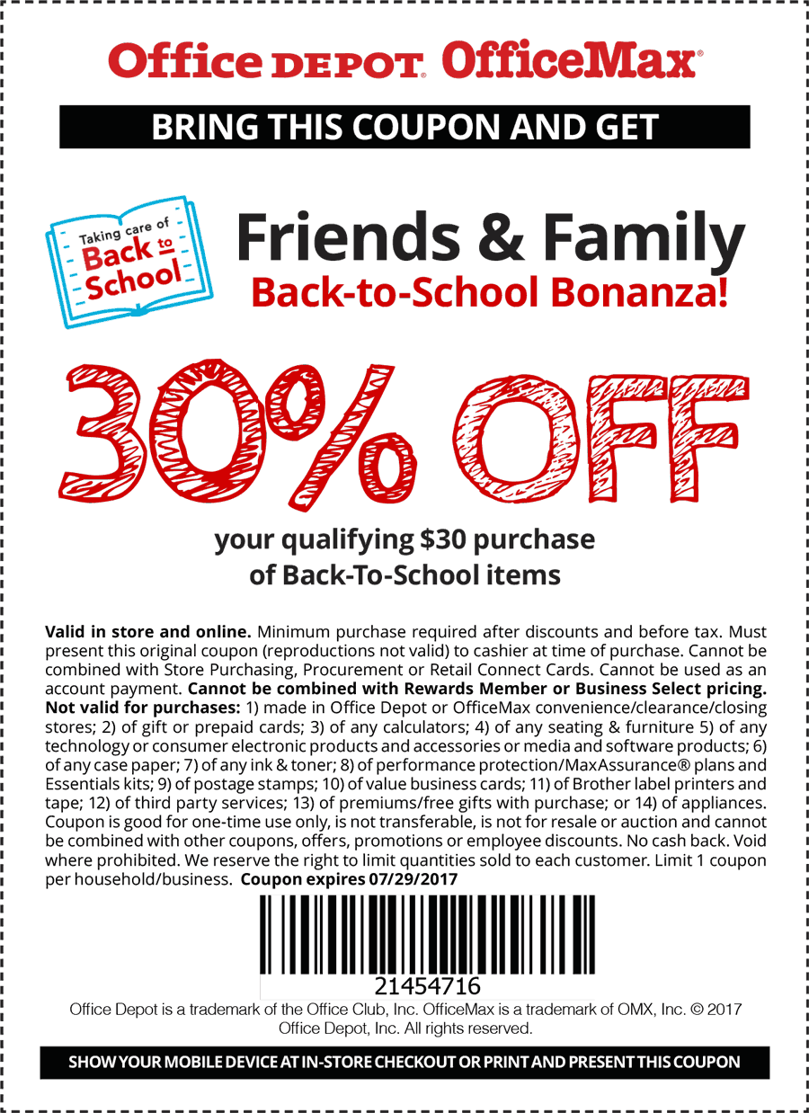 Office Depot coupons - 30% off $30+ on back-to-school