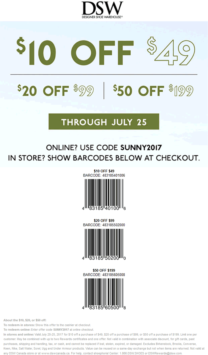 dsw $10 coupon cheap online
