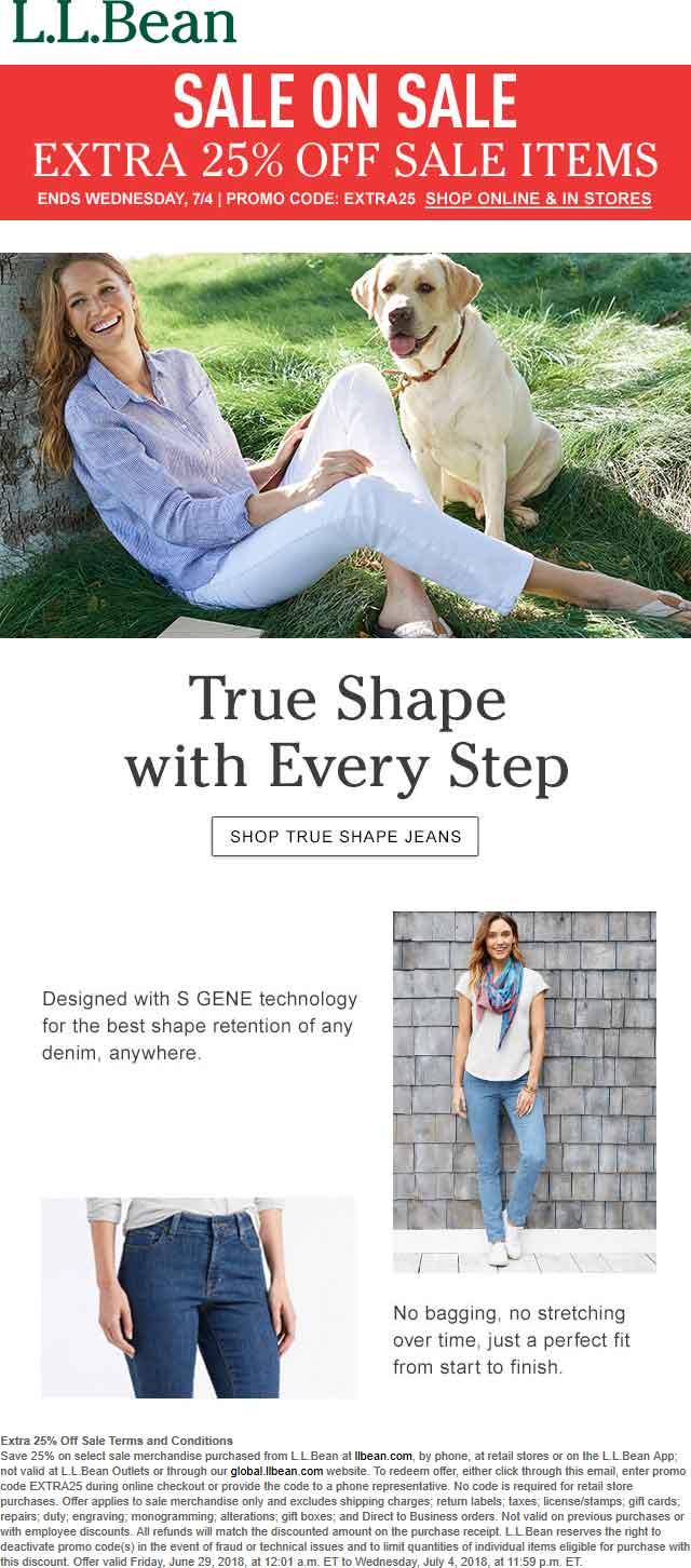 L.L. Bean Coupon February 2020 Extra 25% off sale items at L.L. Bean, or online via promo code EXTRA25