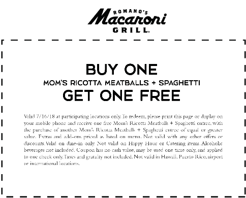 Macaroni Grill Coupon June 2020 Second spaghetti & meatballs free today at Macaroni Grill restaurants