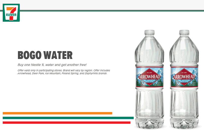 7-Eleven Coupons - Second bottled water free at 7-Eleven