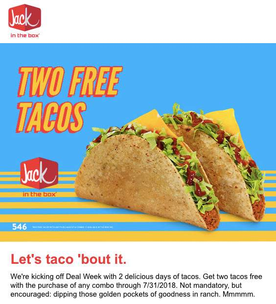 Jack In The Box Coupons 2 Free Tacos With Your Combo Meal At Jack