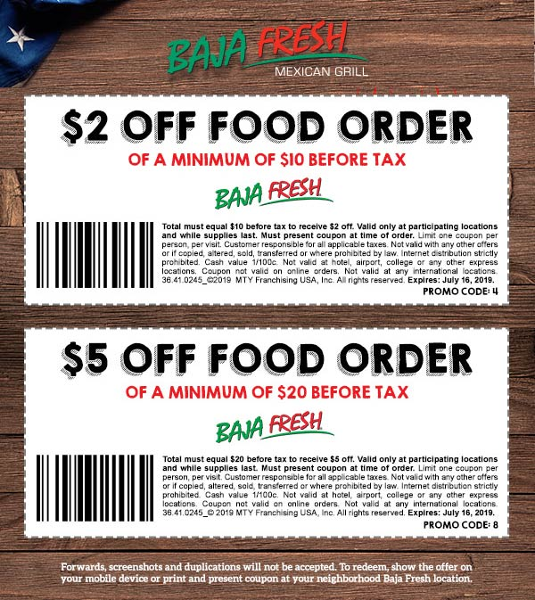 Baja Fresh Coupon January 2020 $2-$5 off at Baja Fresh restaurants
