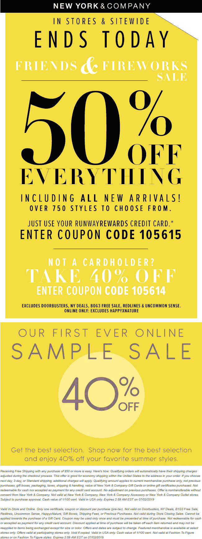 New York & Company Coupon September 2019 40% off everything today at New York & Company, or online via promo code 105614