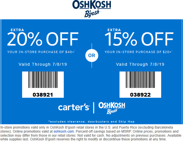 OshKosh Bgosh Coupon October 2019 15-20% off at OshKosh Bgosh
