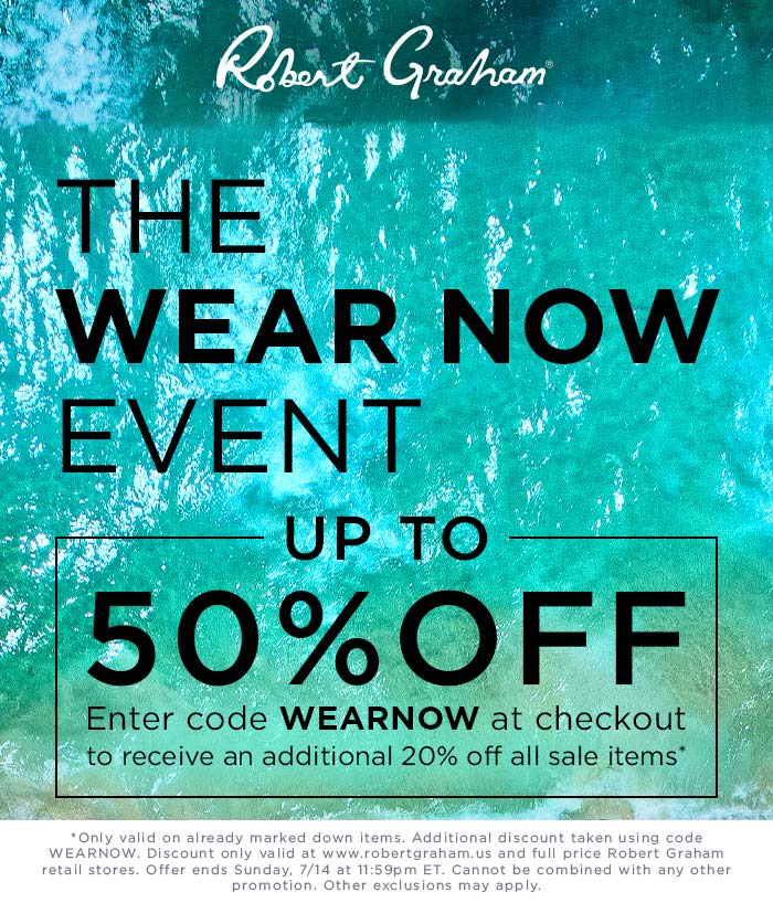 Robert Graham Coupon June 2020 Extra 20% off sale items at Robert Graham, or online via promo code WEARNOW