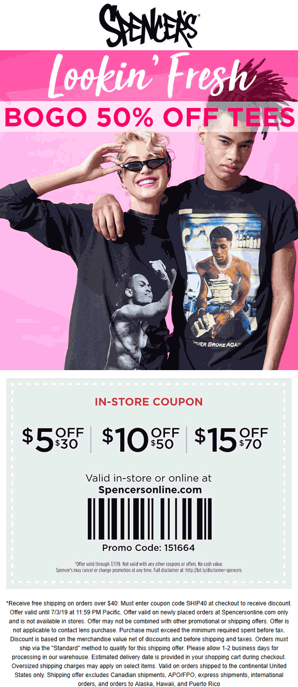 Spencers Coupon November 2019 $5 off $30 & more at Spencers, or online via promo code 151664