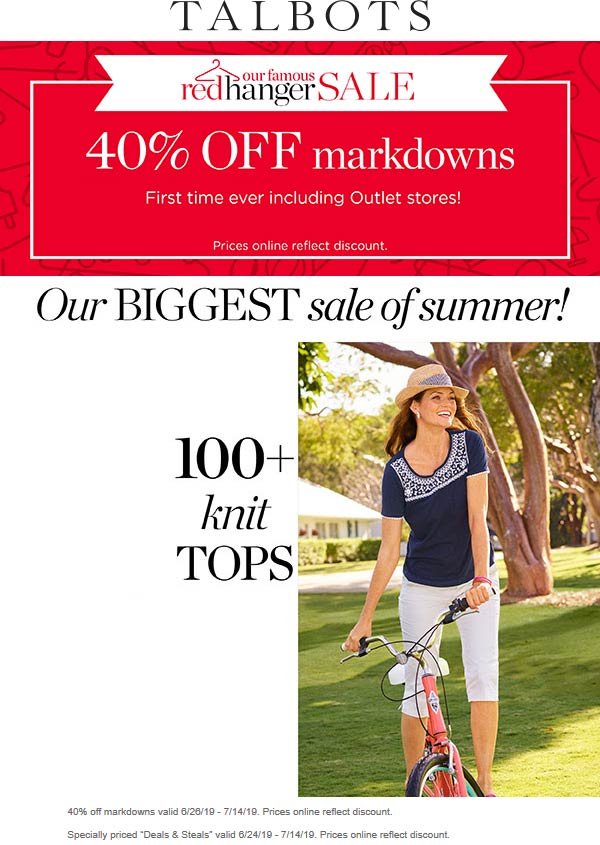 Talbots Coupon August 2020 40% off markdowns at Talbots, ditto online