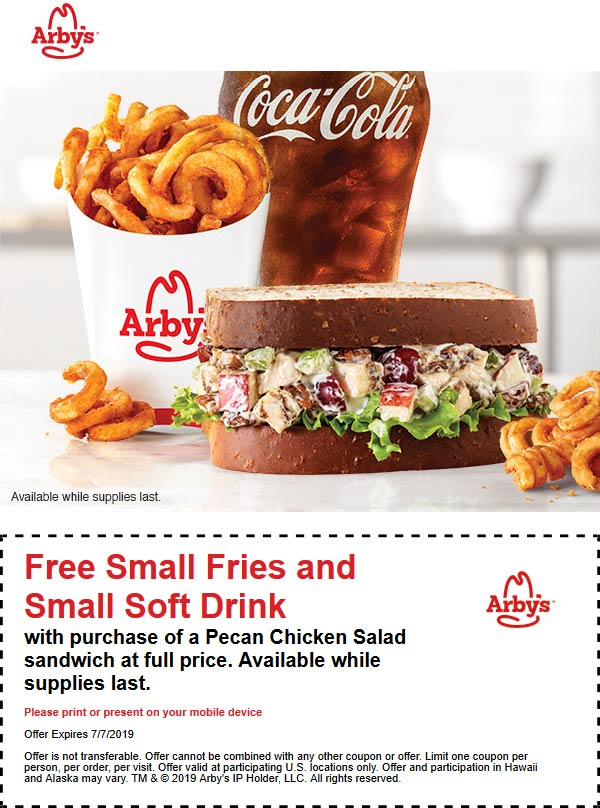 Arbys Coupon November 2019 Free fries & drink with your pecan chicken sandwich at Arbys