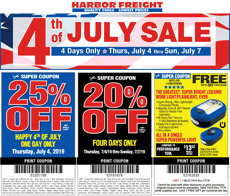 Harbor Freight Tools Coupon July 2019 25% off a single item & more at Harbor Freight Tools