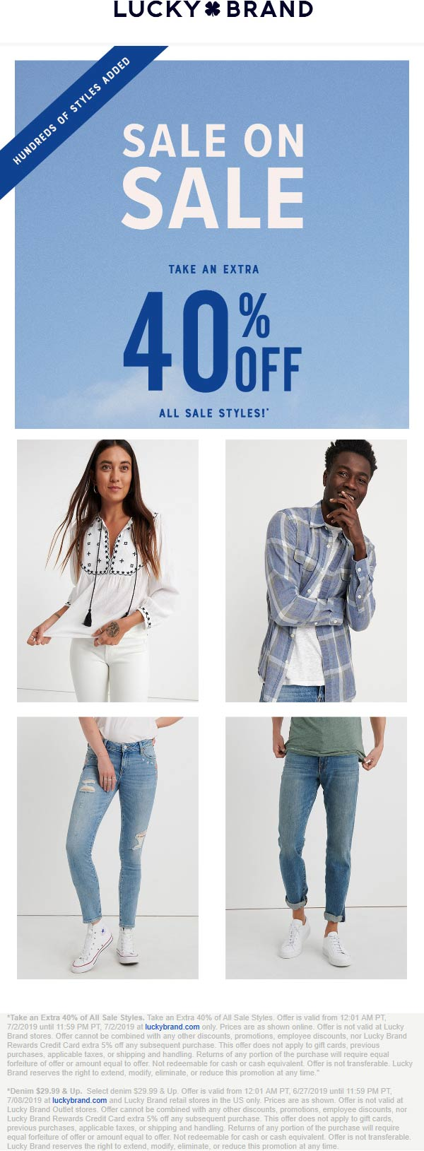 Lucky Brand Coupon June 2020 Extra 40% off sale items online today at Lucky Brand