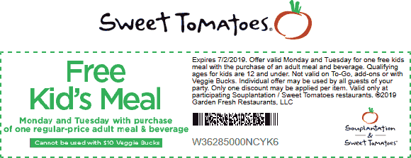 Sweet Tomatoes Coupon September 2019 Free kids meal with yours today at Sweet Tomatoes