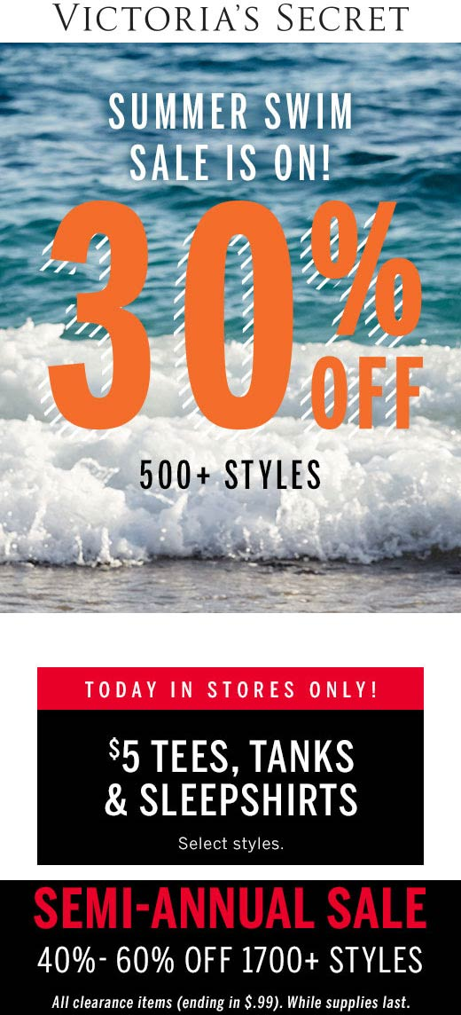 Victorias Secret Coupon August 2020 30% off summer swim at Victorias Secret, ditto online