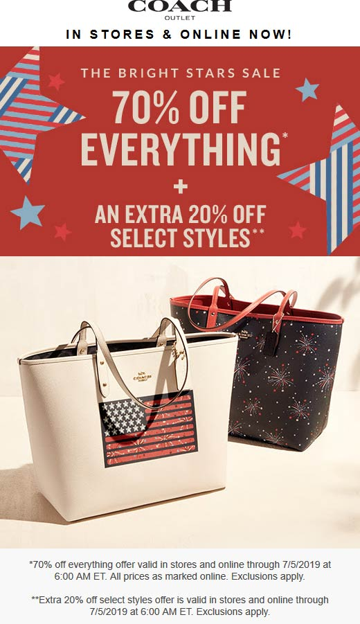 Coach Outlet Coupon July 2019 70-90% off everything at Coach Outlet, ditto online