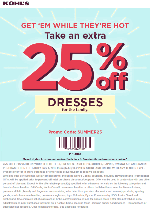 Kohls Coupon February 2020 Extra 25% off summer gear today at Kohls, or online via promo code SUMMER25