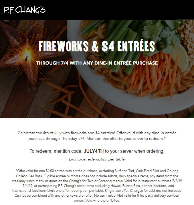 P.F. Changs Coupon July 2020 $4 entrees at P.F. Changs restaurants via promo code JULY4TH