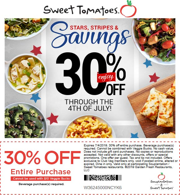 Sweet Tomatoes Coupon July 2019 30% off at Sweet Tomatoes restaurants