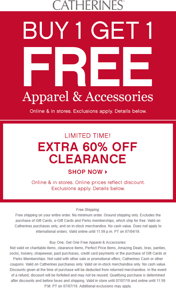 Catherines Coupon August 2019 2nd item free at Catherines, ditto online
