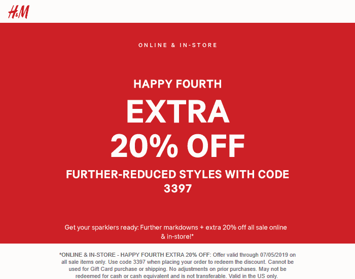 H&M Coupon July 2019 Extra 20% off sale items at H&M, or online via promo code 3397