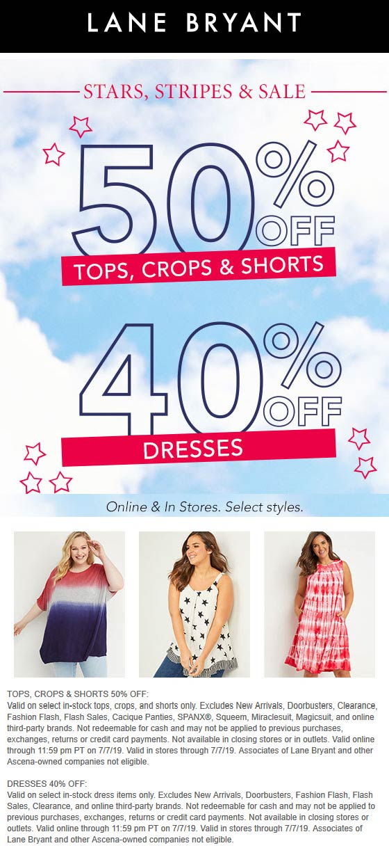 Lane Bryant Coupon August 2020 50% off tops shorts & more at Lane Bryant, ditto online