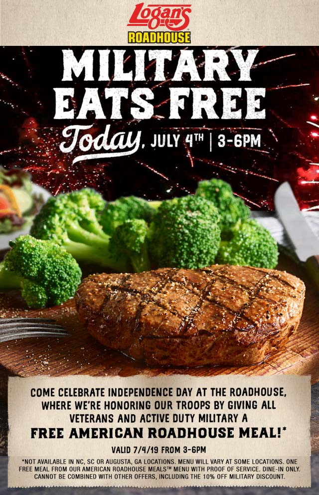 Logans Roadhouse Coupon September 2019 Military eats free today 3-6p at Logans Roadhouse restaurants