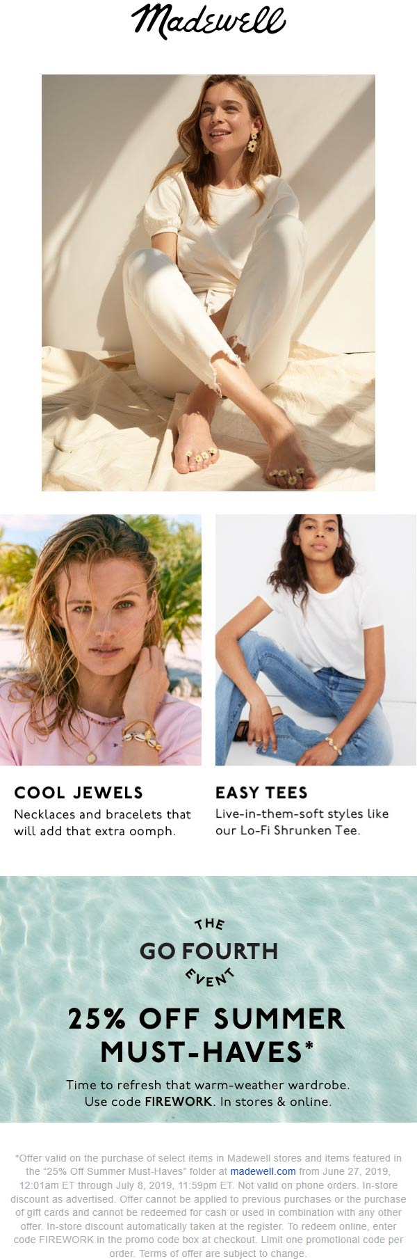 Madewell Coupon November 2019 25% off summer at Madewell, or online via promo code FIREWORK