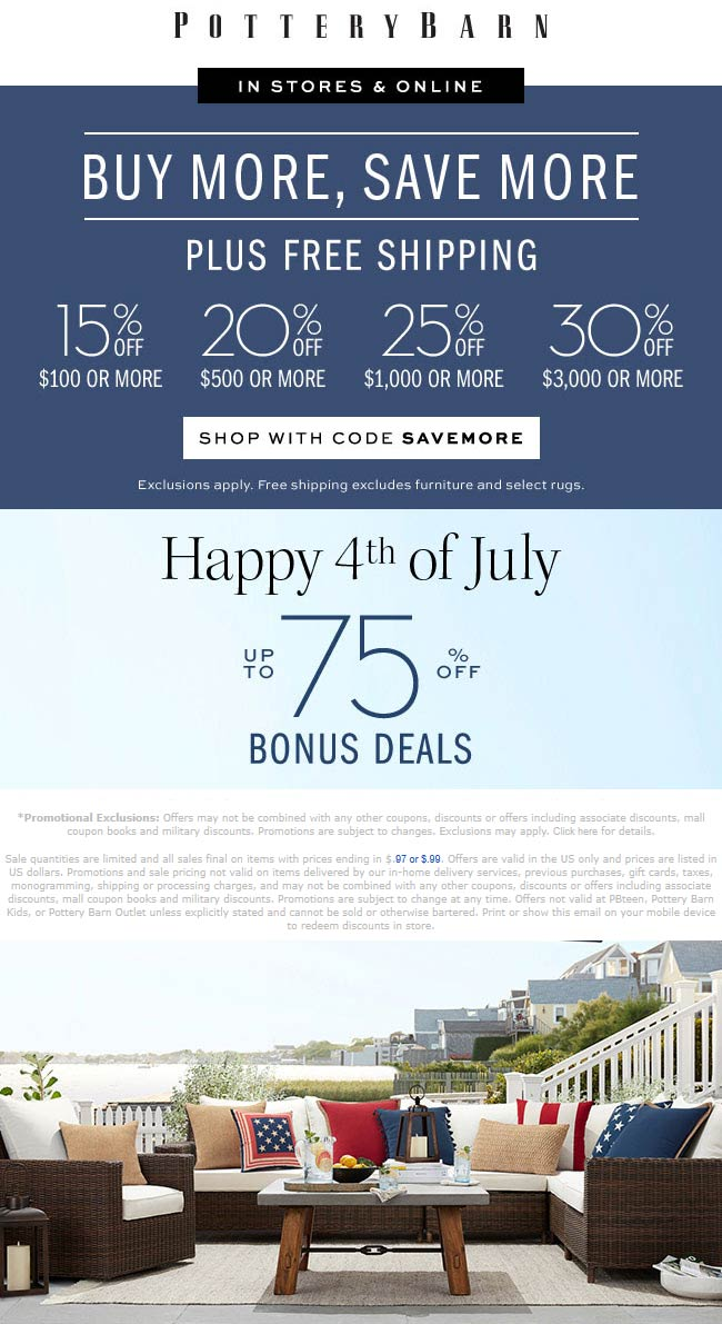Pottery Barn Coupon January 2020 15-30% off $100+ at Pottery Barn, or online via promo code SAVEMORE