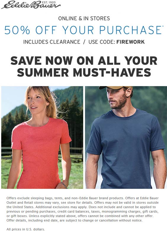 Eddie Bauer coupons & promo code for [October 2020]