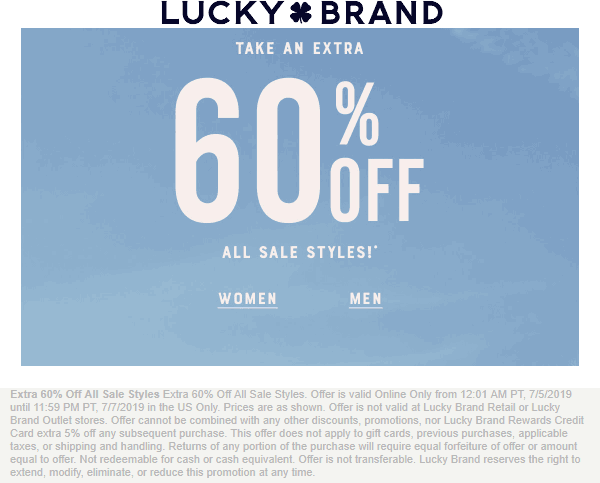 Lucky Brand coupons & promo code for [September 2020]