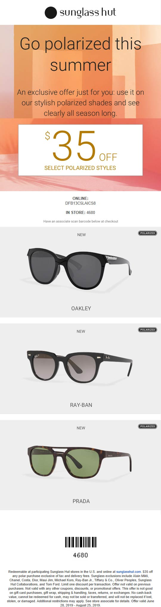 sunglass hut coupon code 2019